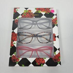 Betsey Johnson 3 Pack Leopard Cat Eye Readers +1.5